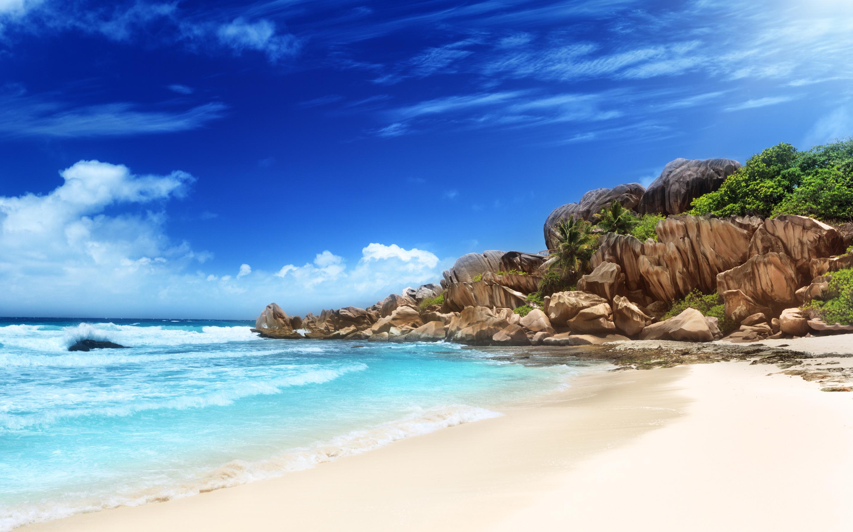 Tropical Beach Sand Blue Sky Wallpaper
