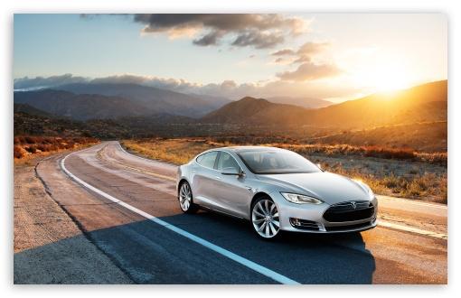 Tesla Model S in Silver Desert Road HD wallpaper for Standard 43 54 510x330