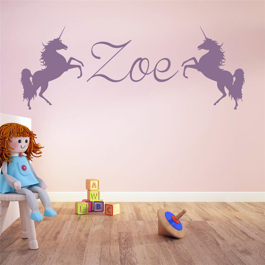 Unicorn girl room custom name decal girl room nursery home 850x850