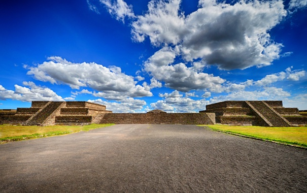 Mexico teotihuacan pyramids clouds blue sky mexico wallpapers 605x380