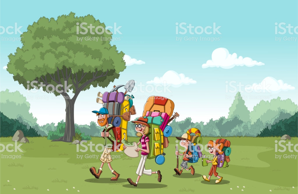 Cartoon Family With Big Backpacks On Green Park People Hiking On 1024x669