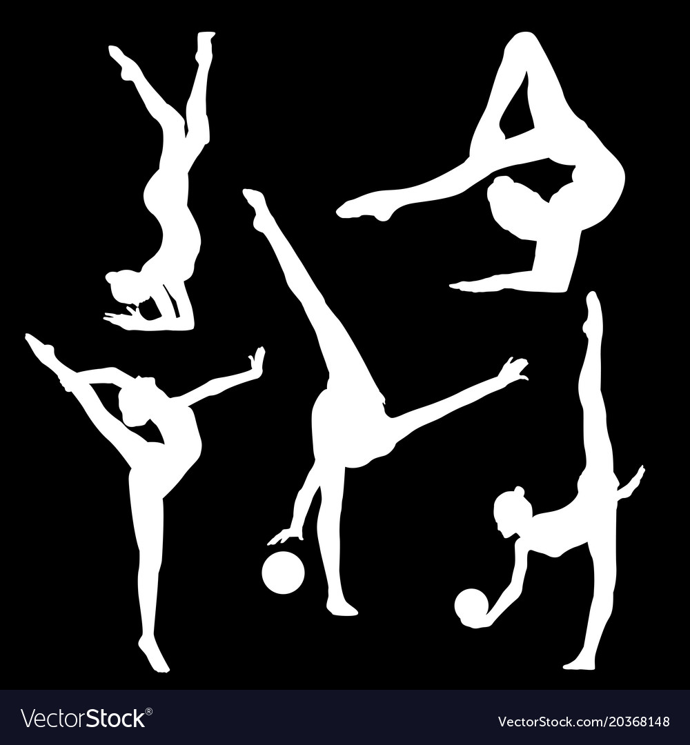 White silhouette of gymnast on black background Vector Image 1000x1080