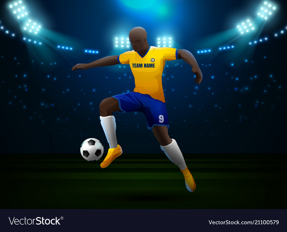 Soccer player with field stadium background Vector Image 1000x810