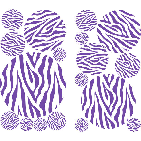 Zebra Stripe Dots Purple Peel and Stick Decals   Wall Sticker Outlet 576x576