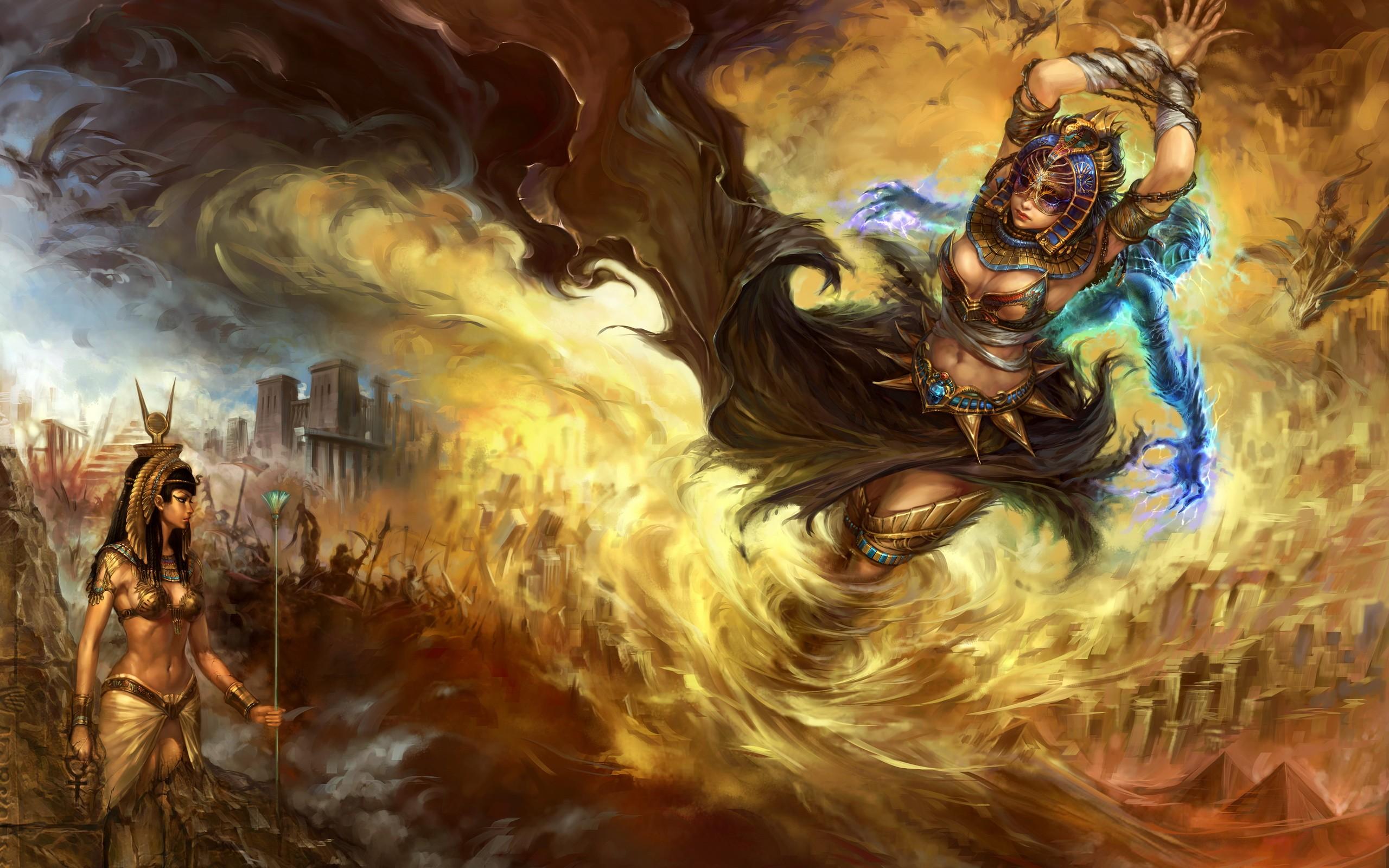 Egypt fantasy art artwork forsaken world anime girls wallpaper 2560x1600
