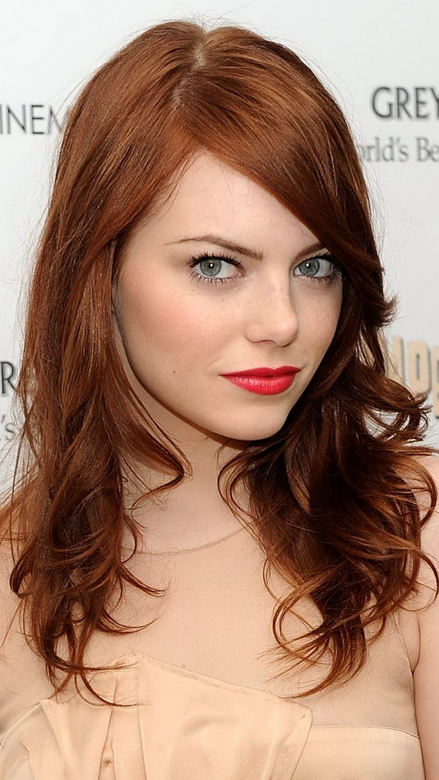 emma stone red hair iPhone5 Wallpaper for iPhone 4S and iPhone 5S 640x1136