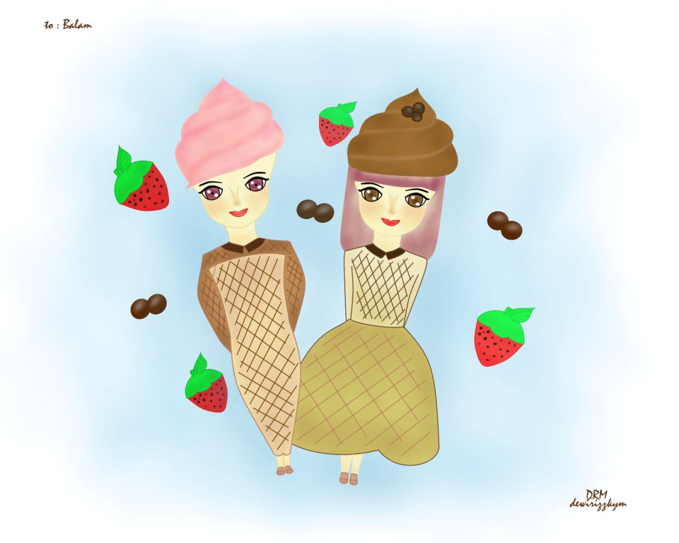 ice cream girl cartoon wallpaper design by dewi rizzky 960x768
