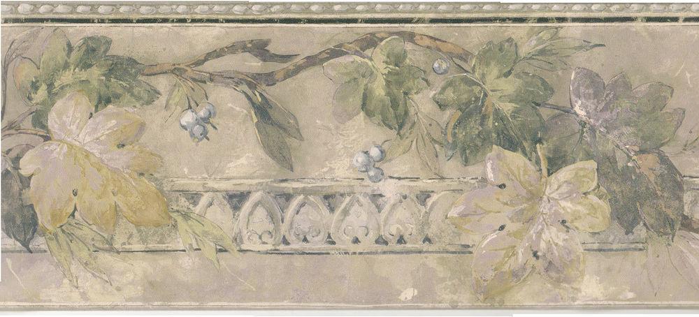 Sale 4 Dramatic Leaf Berry Grey Blue Sage Wallpaper Border 776 eBay 1000x454