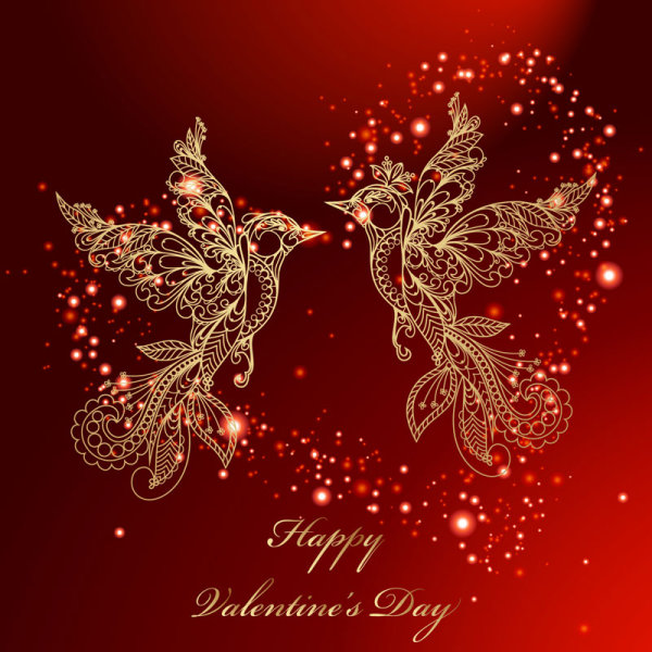 Valentines Day red background and birds vector Download 600x600
