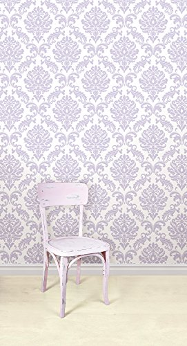 Wall Pops NU1396 Purple Ariel Peel and Stick Wallpaper Hardware 271x500