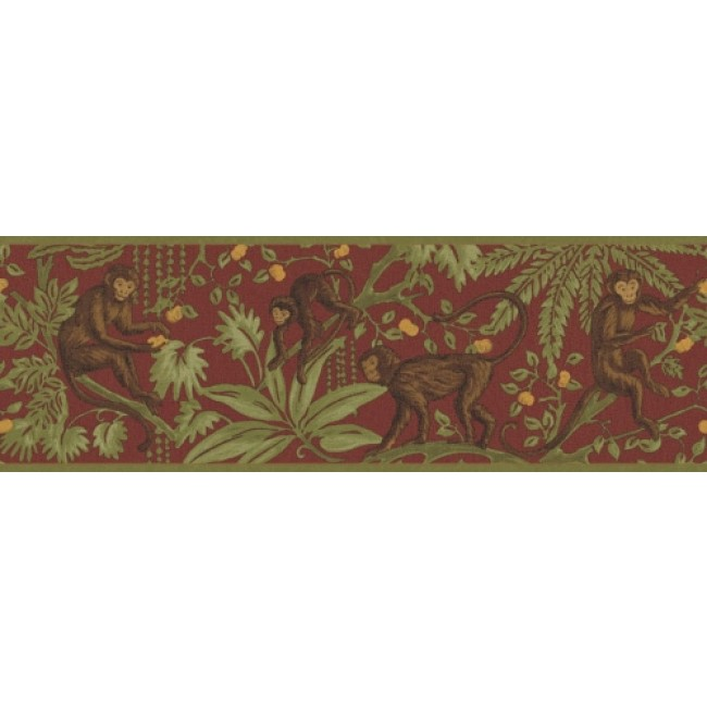 TROPICAL JUNGLE MONKEY IN THE TREES ON RED WALLPAPER BORDER   All 4 650x650