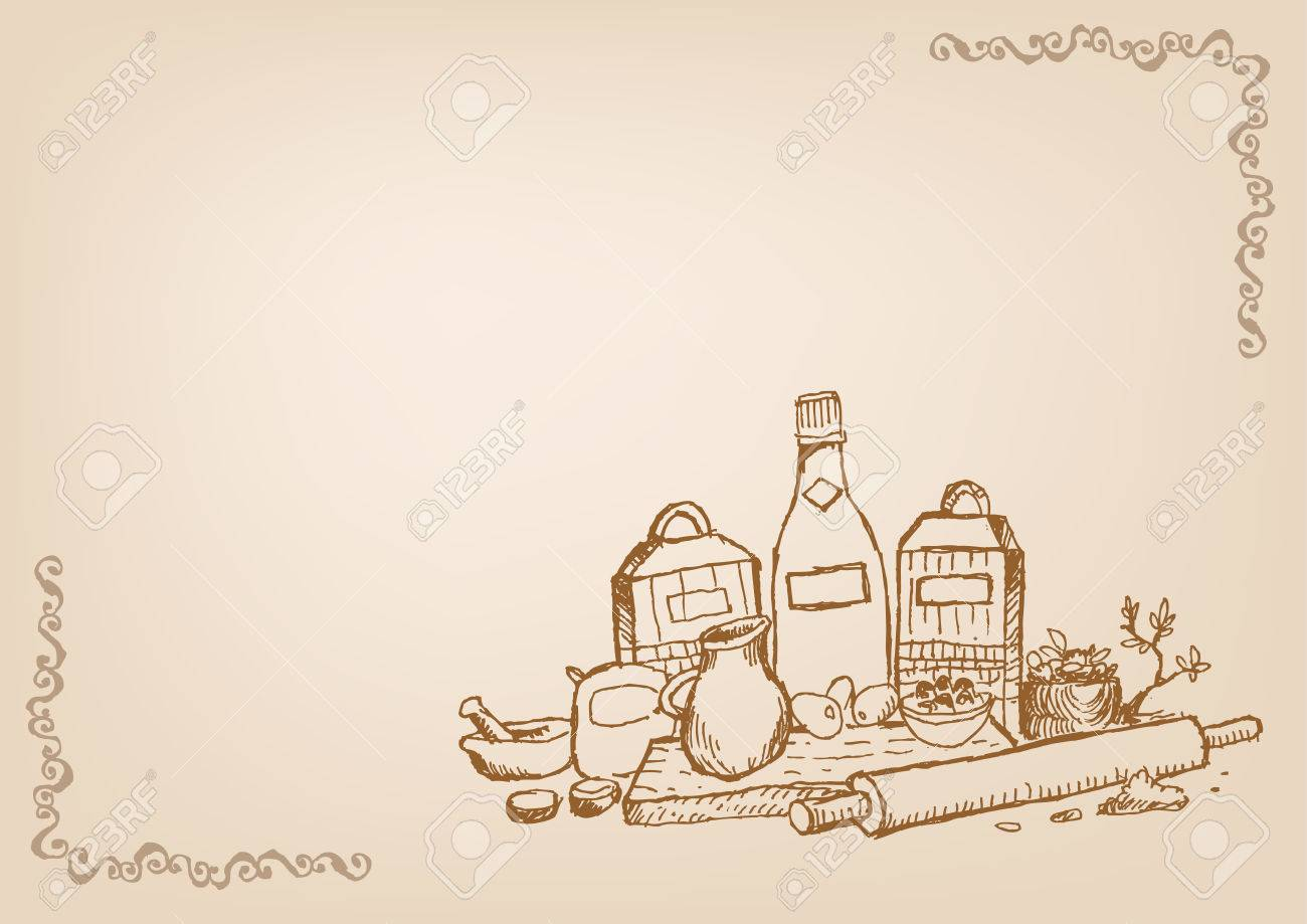 Baking And Cooking Wallpaper Line Art Style With Blank Space 1300x919