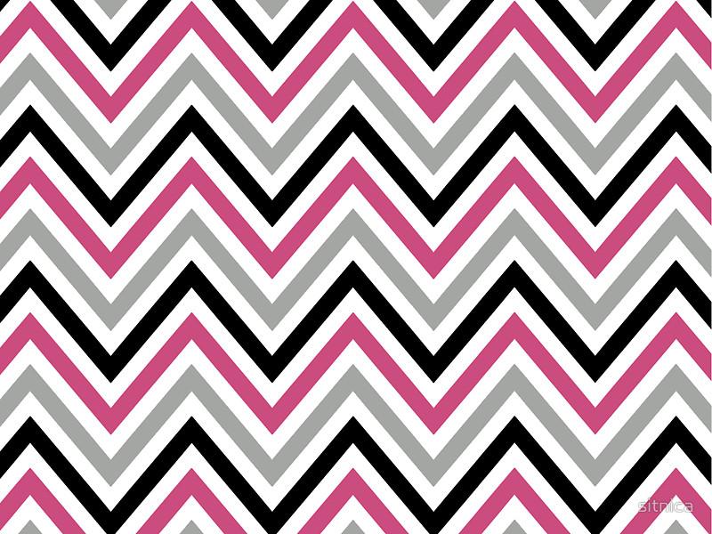 Zigzag Chevron Stripes   Gray Black Pink White by sitnica 800x600