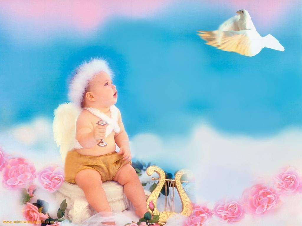 Cute baby on pink Collages Abstract Background Wallpapers on