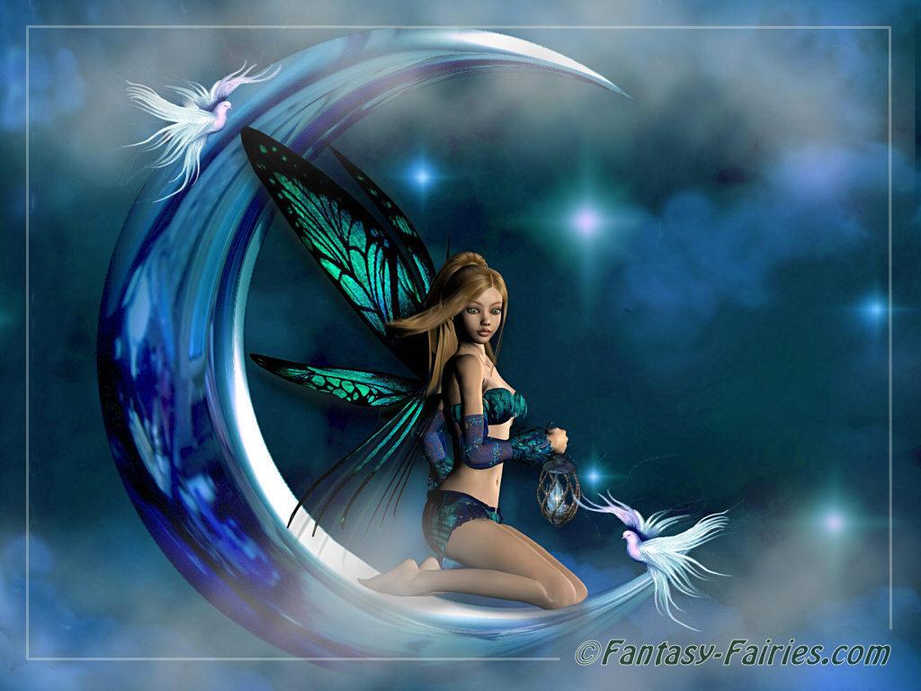 Desktop Moon Fairy Wallpaper 1024x768