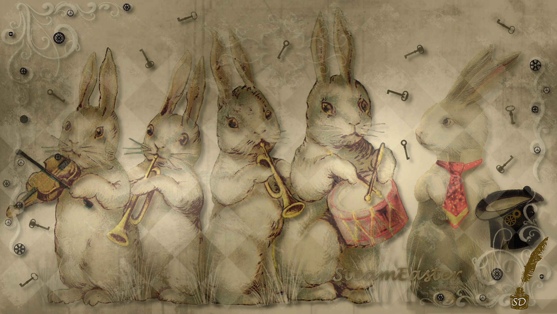 Steampunk wallpaper Steampunk Easter wallpaper Easter Easter 1920x1084