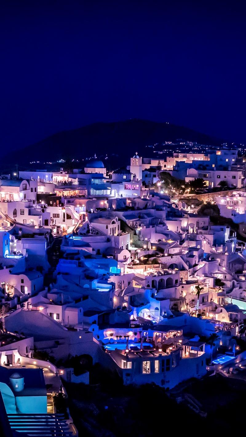 Download wallpaper 800x1420 santorini greece night city 800x1420