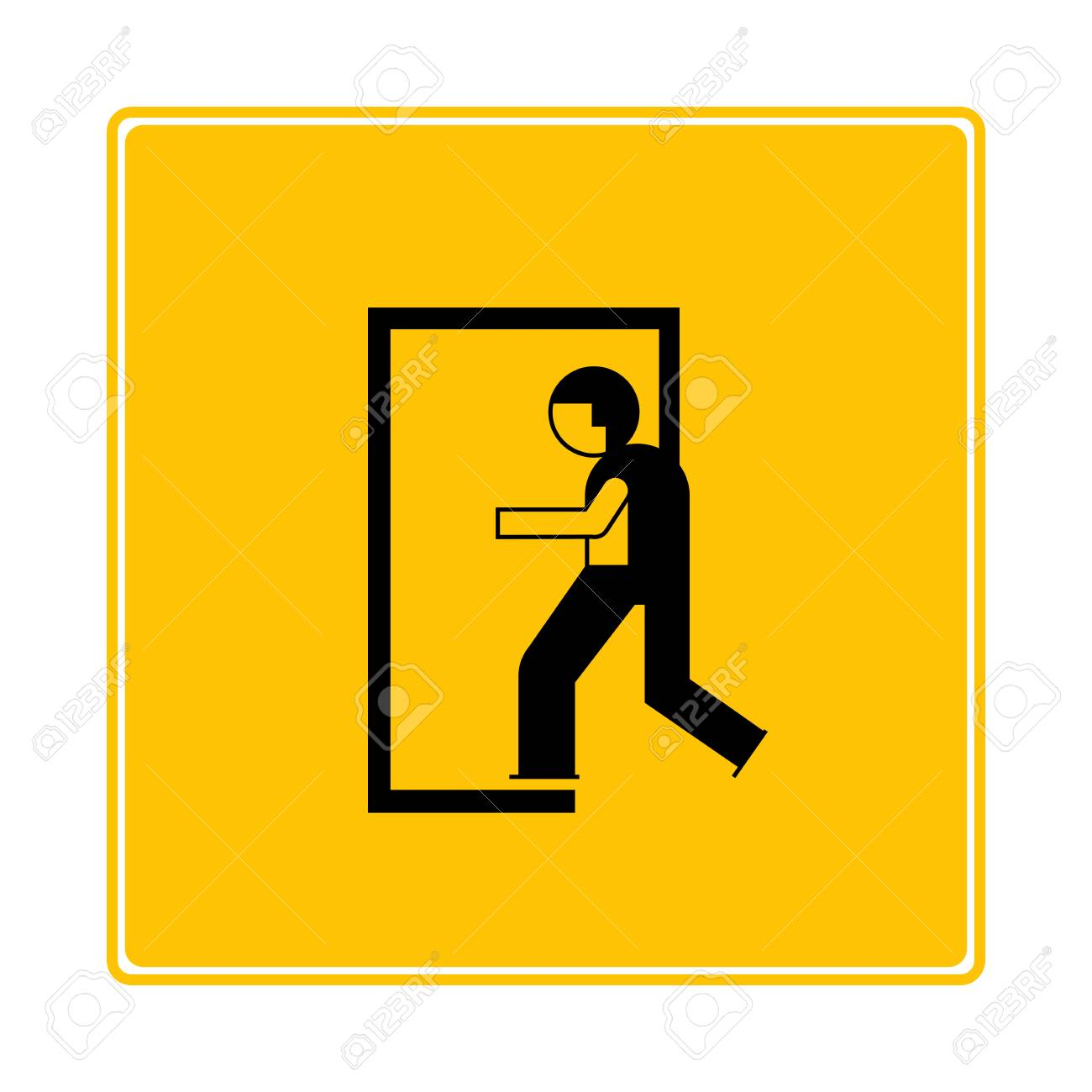Emergency Exit Person Walking Exit The Door Icon In Yellow 1300x1300