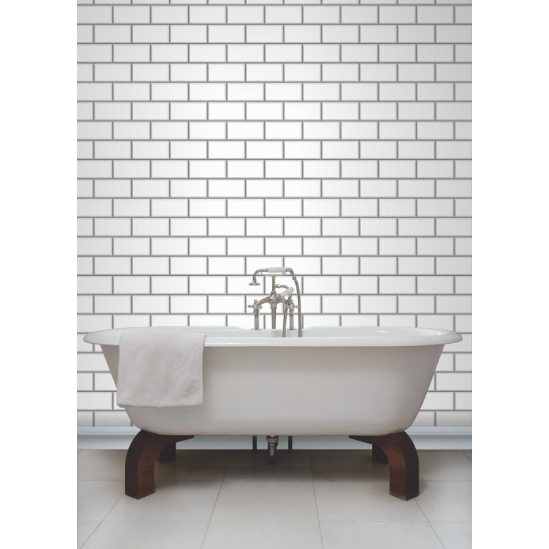 Home Ceramica White Subway Tile Effect Wallpaper by Fine Decor 800x800