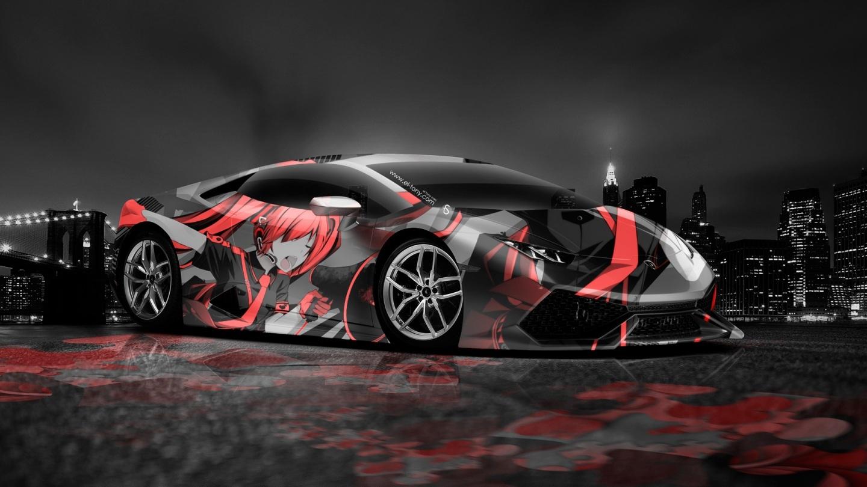 Lamborghini Huracan Anime Aerography City Car Orange Colors Hd 1440x810