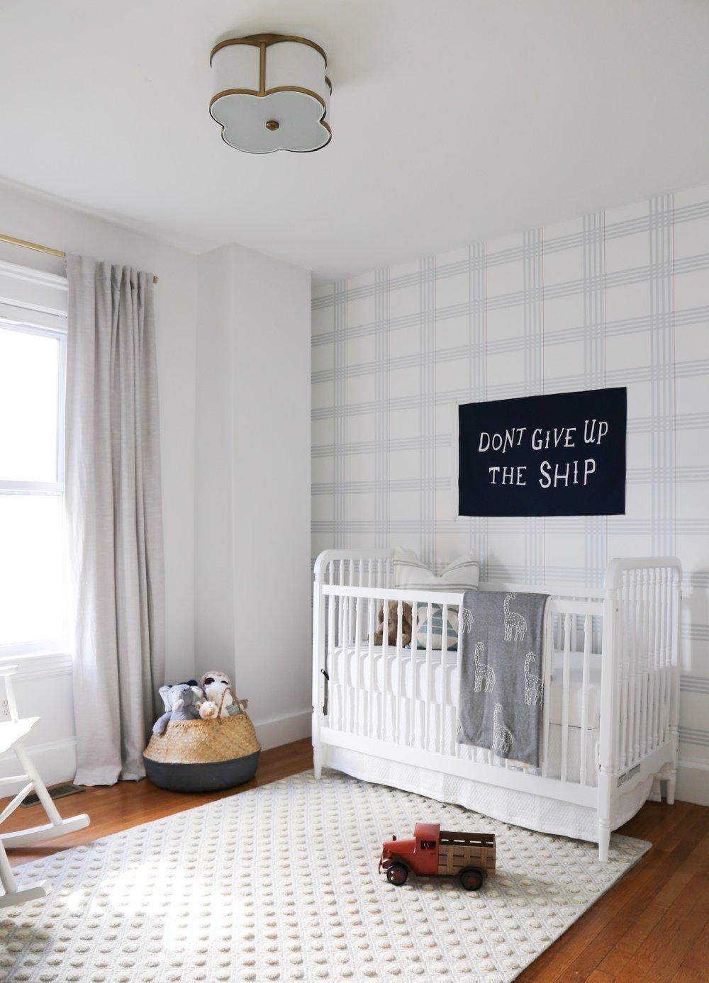 A Baby Boy Nursery with Preppy Plaid Wallpaper   HAVEN 1000x1387