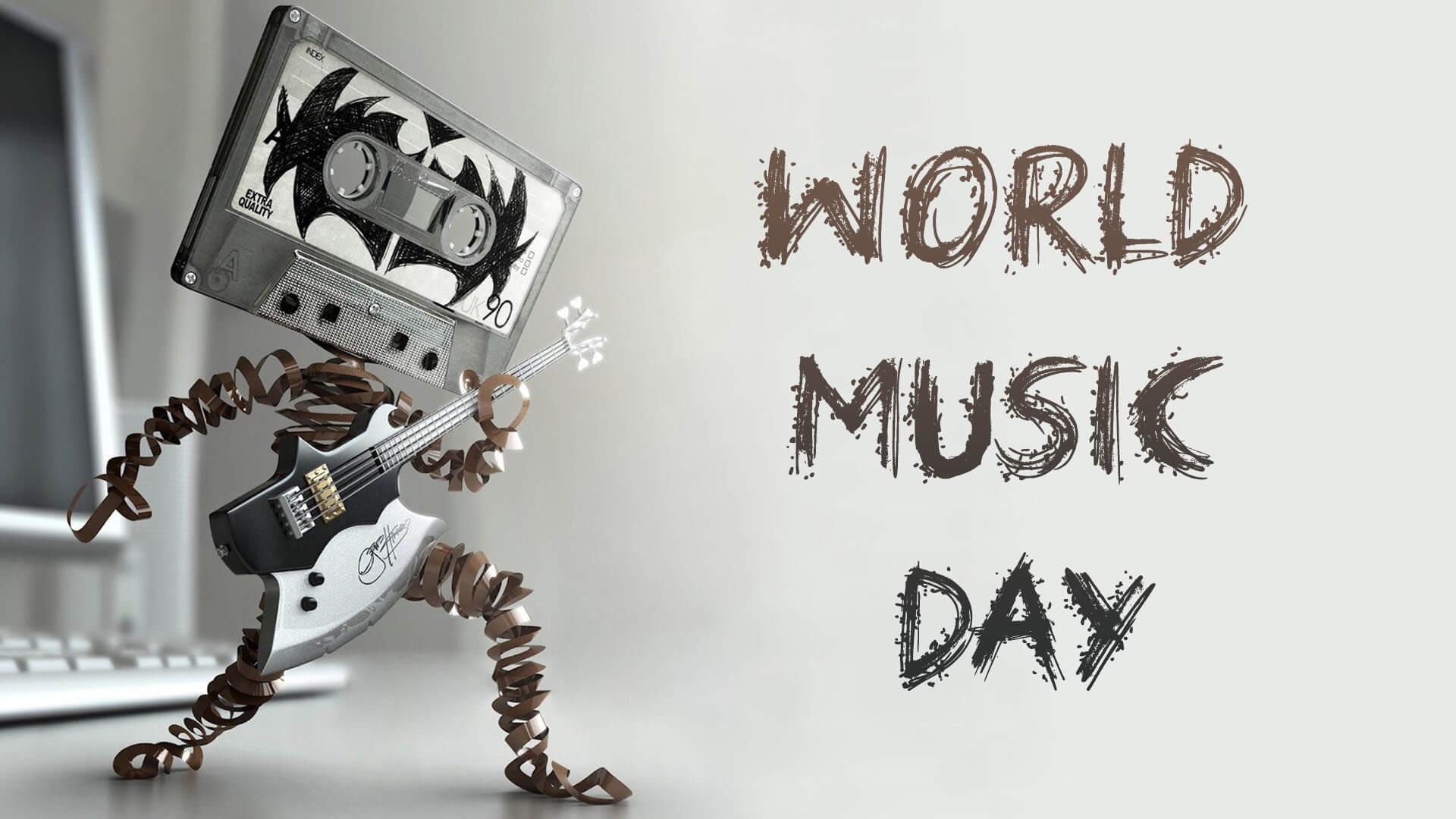Happy World Music Day Cassette Man Hd Wallpaper 1920x1080
