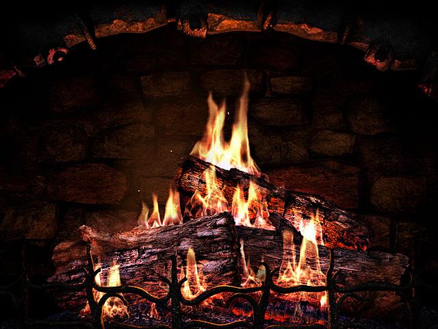 3D Screensavers   Fireplace   Real fireplace at your desktop 640x480