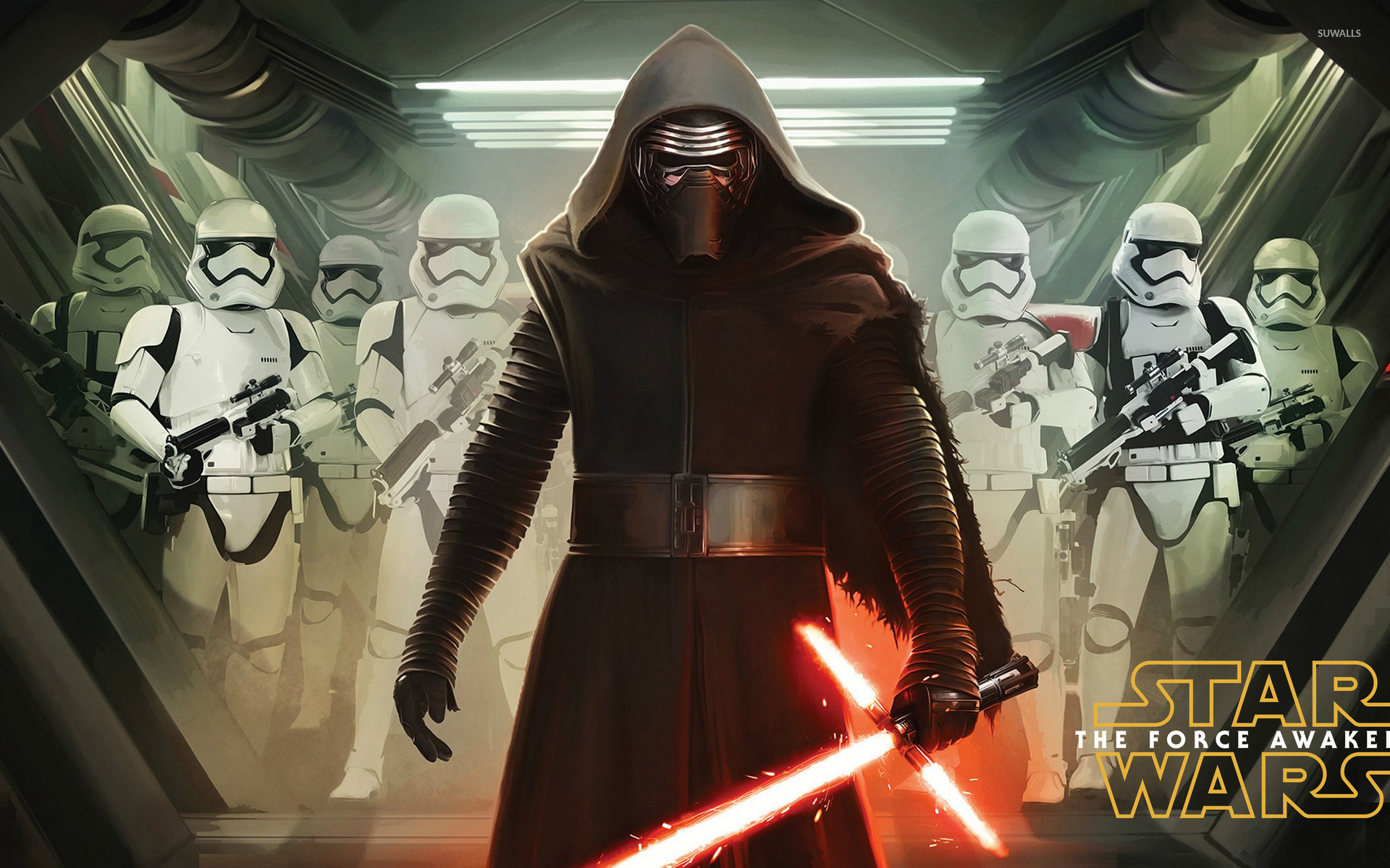 Kylo Ren with stormtroopers   Star Wars The Force Awakens wallpaper 1920x1200