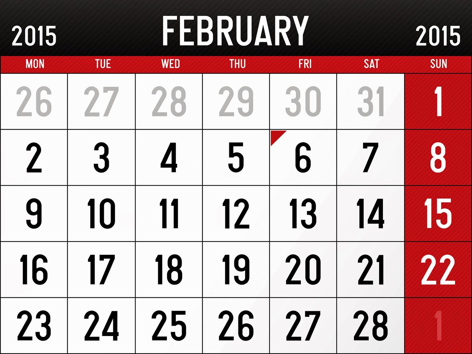 February 2015 Calendar   Download Wallpaper 1600x1200