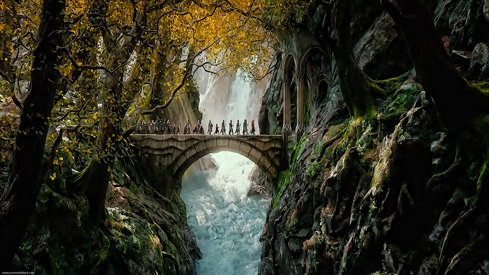 the dwarves and elves entering the woodland realm of king hranduil 1920x1080