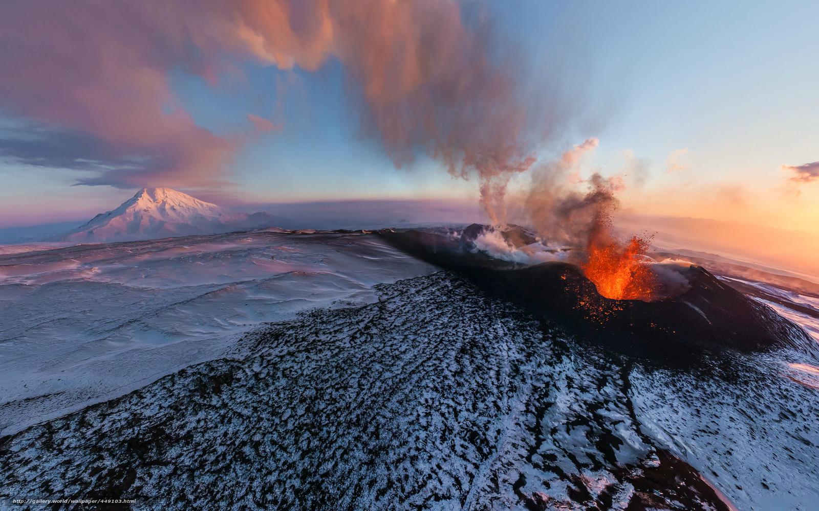 Download wallpaper Flat Tolbachik volcano eruption Kamchatka 1600x1000
