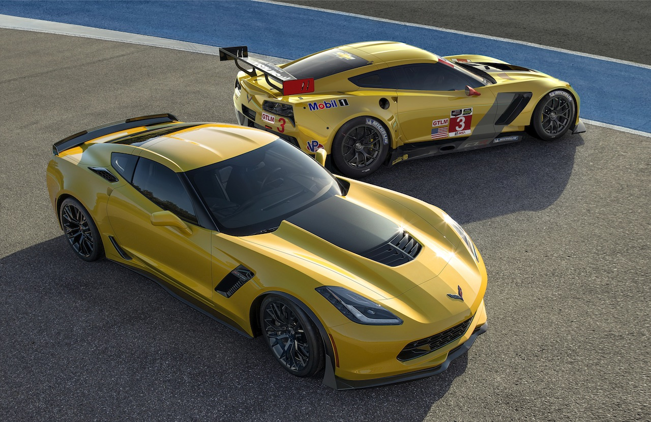 to R The all new 2015 Corvette Z06 and 2014 Corvette C7R race car 1280x830