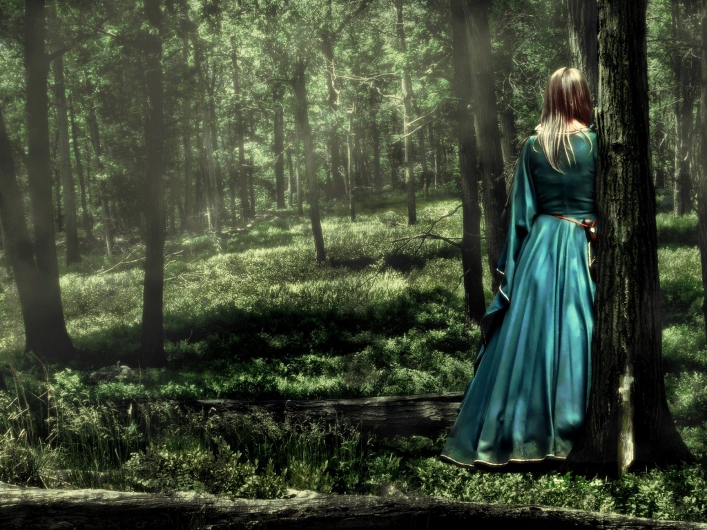 Girl in the forest wallpaper Wallpaper Wide HD 1024x768
