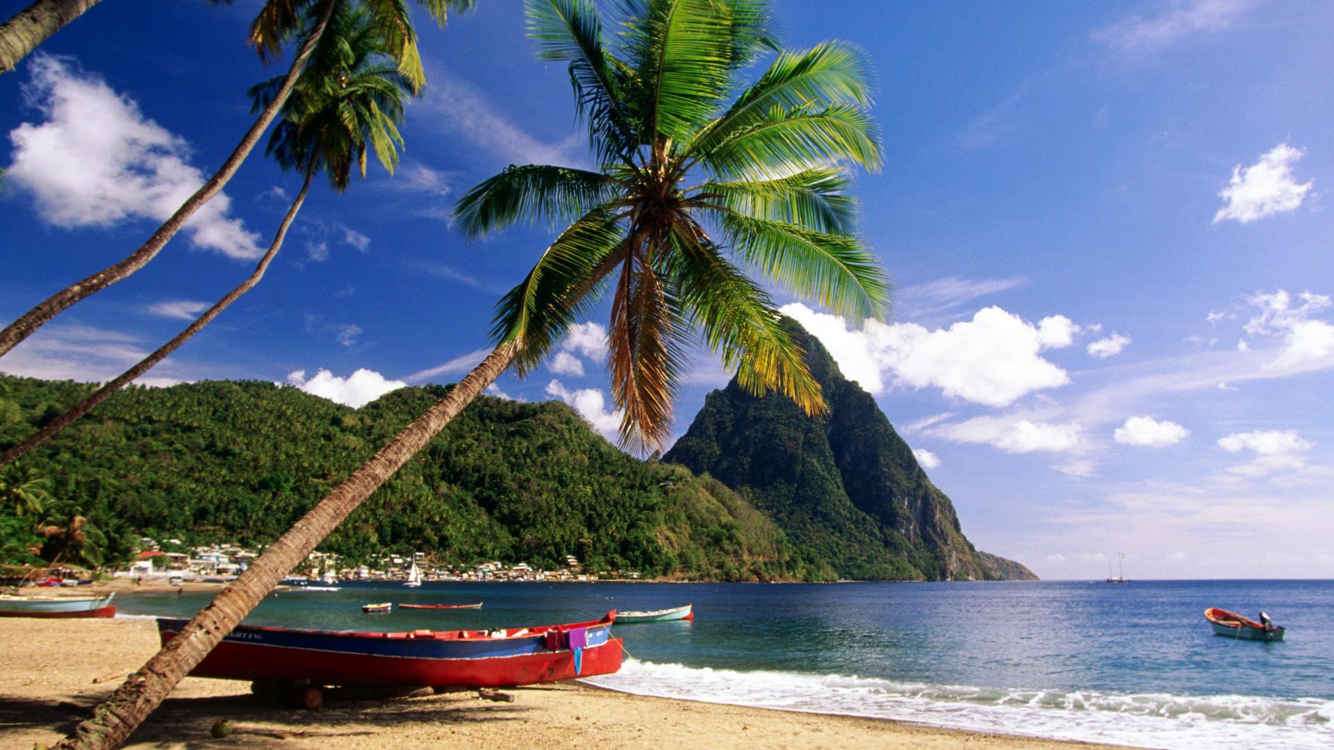Beach Desktop Backgrounds and Wallpaper   Caribbean Escape St Lucia 1920x1080