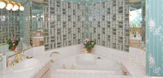 1980s BathroomGlass block walls gold fixtures floral wallpaper lots 620x300