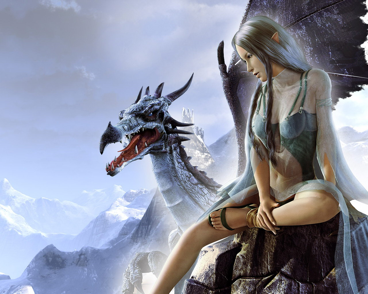 girl elf woman and dragon download photo wallpapers for desktop elf 1280x1024