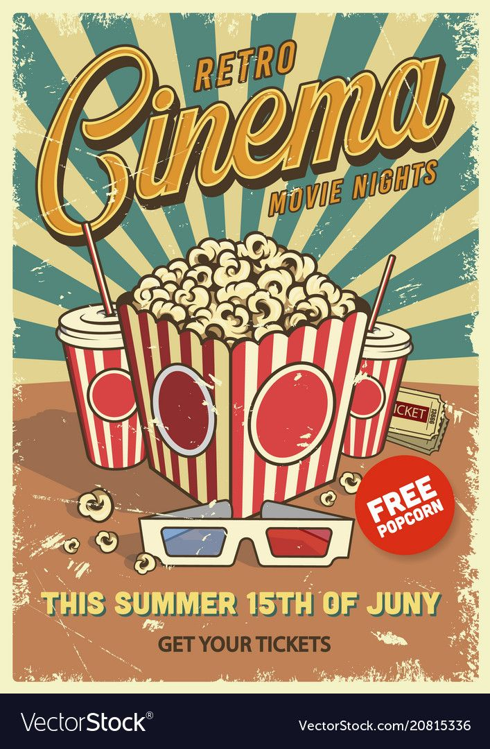 Vintage cinema poster vector image on in 2020 With images 707x1080