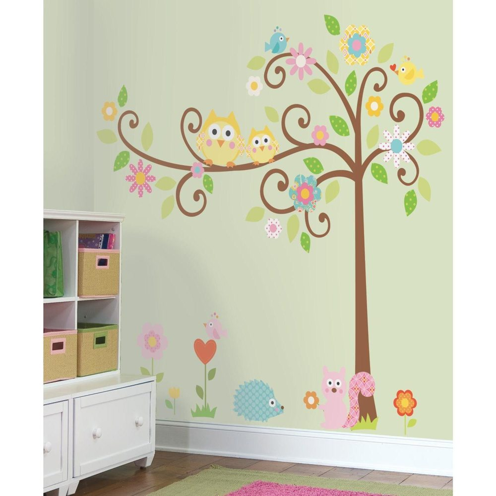 RMK1439SLM Scroll Tree Peel and Stick Wall Decal MegaPack Wall 1000x1000