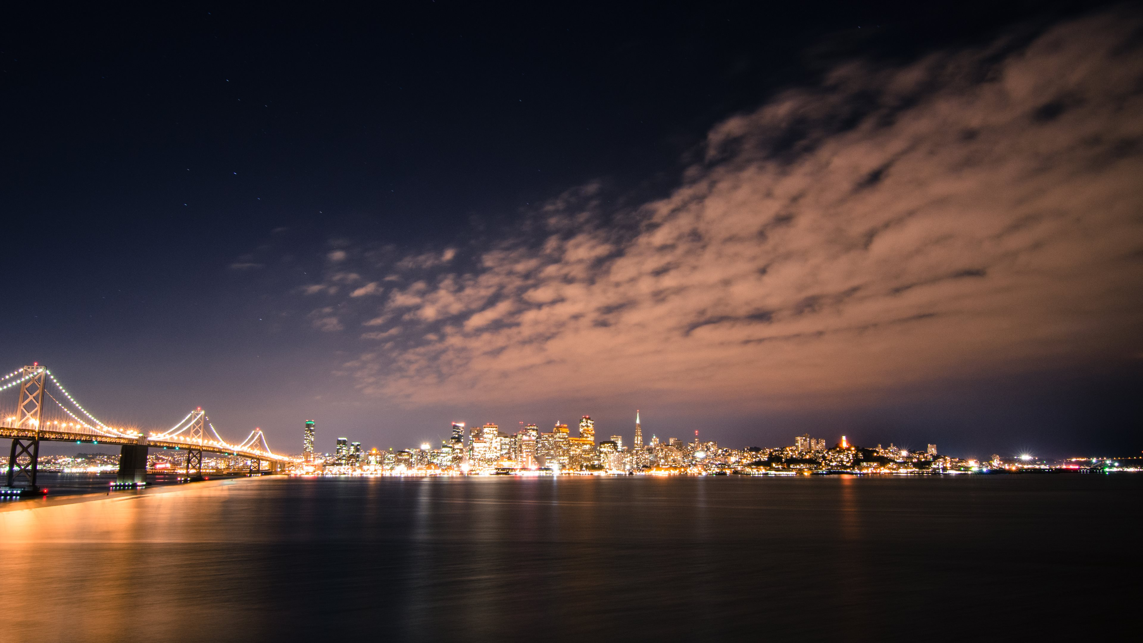 San Francisco Skyline by Night HD Wallpapers 4K Wallpapers 3840x2160