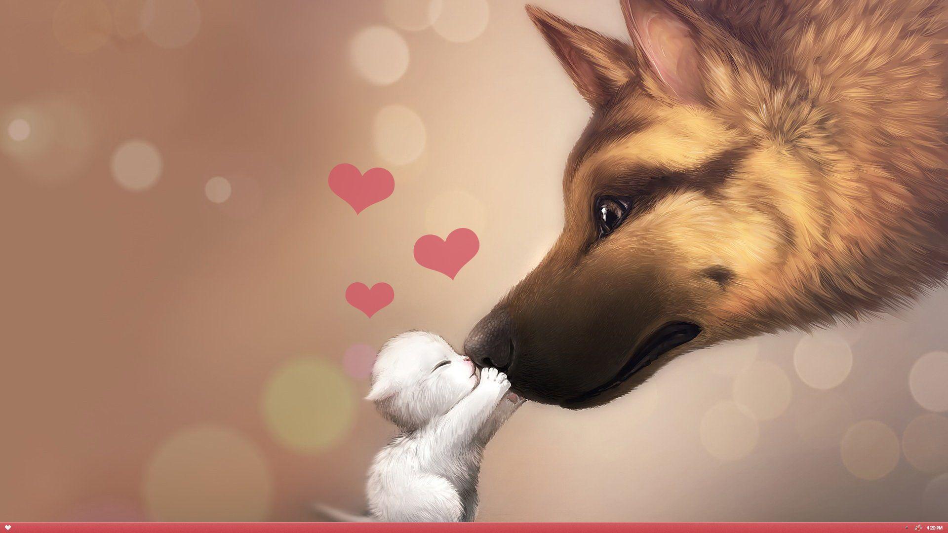 Dog Cat Love HD Wallpaper FullHDWpp   Full HD Wallpapers 1920x1080