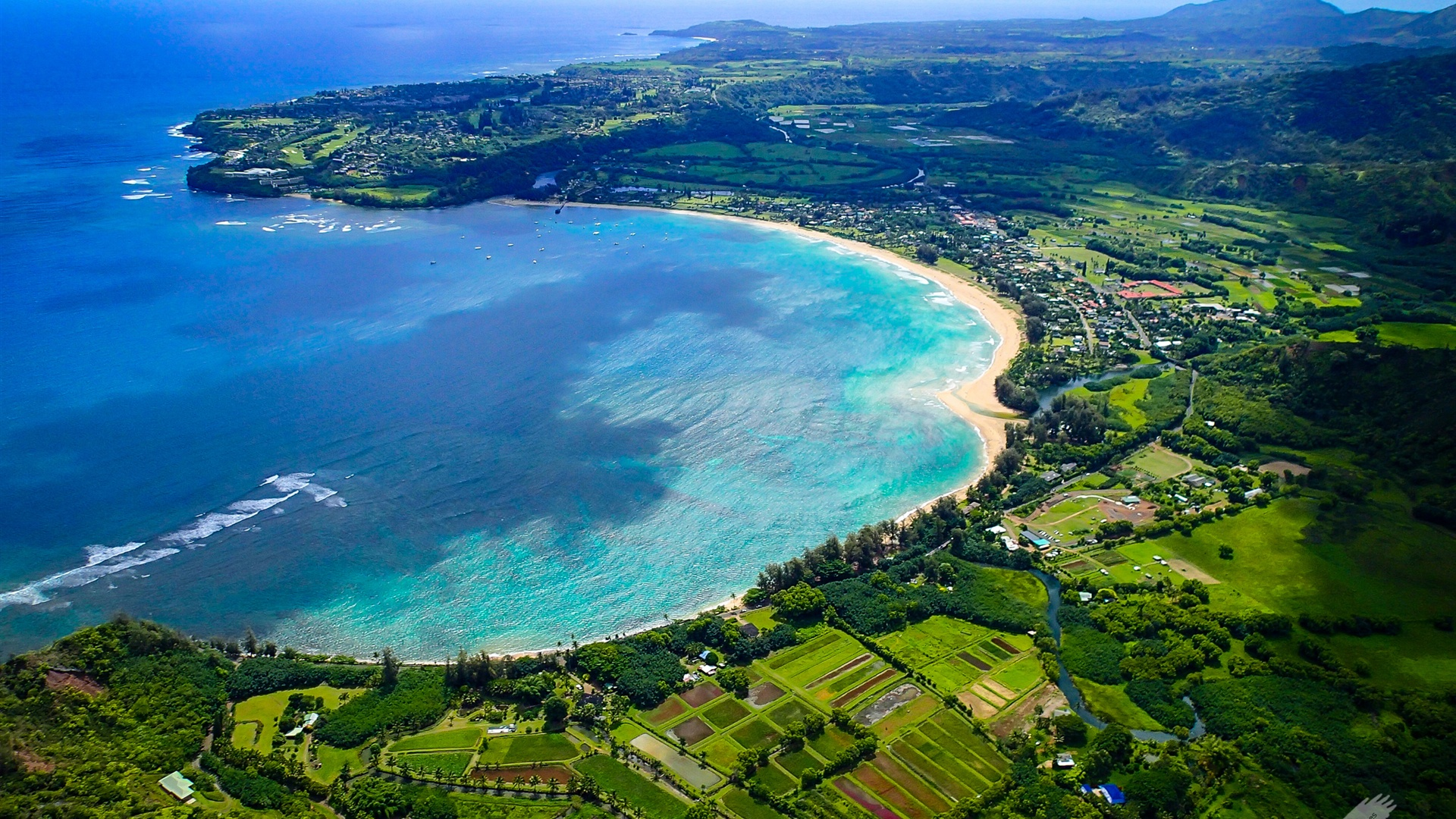 Island Hawaii Hanalei Bay Beach Sea Coast   High Definition Wallpapers 1920x1080
