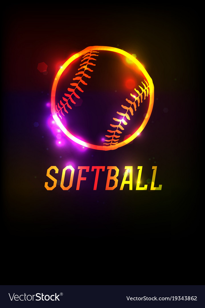 Glowing softball icon background Royalty Vector Image 720x1080