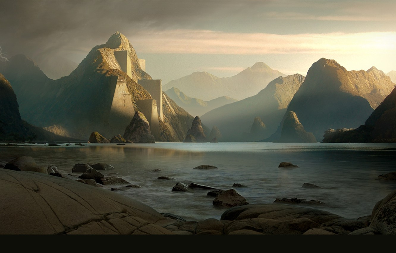 Wallpaper mountains rocks stones sunset valley images for 1332x850
