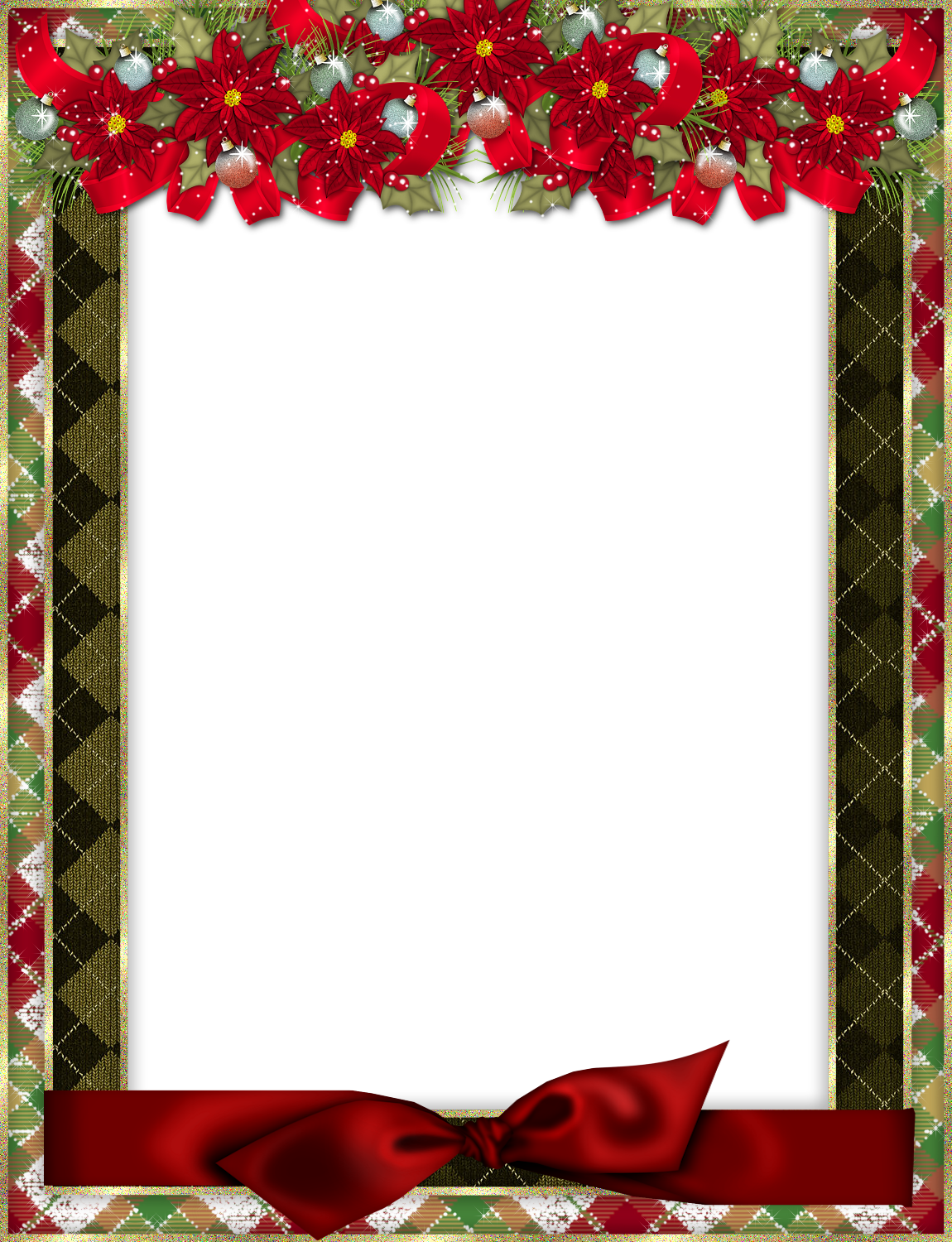 Christmas Photo Frame with Red Bow and Poinsettia Gallery 1150x1500