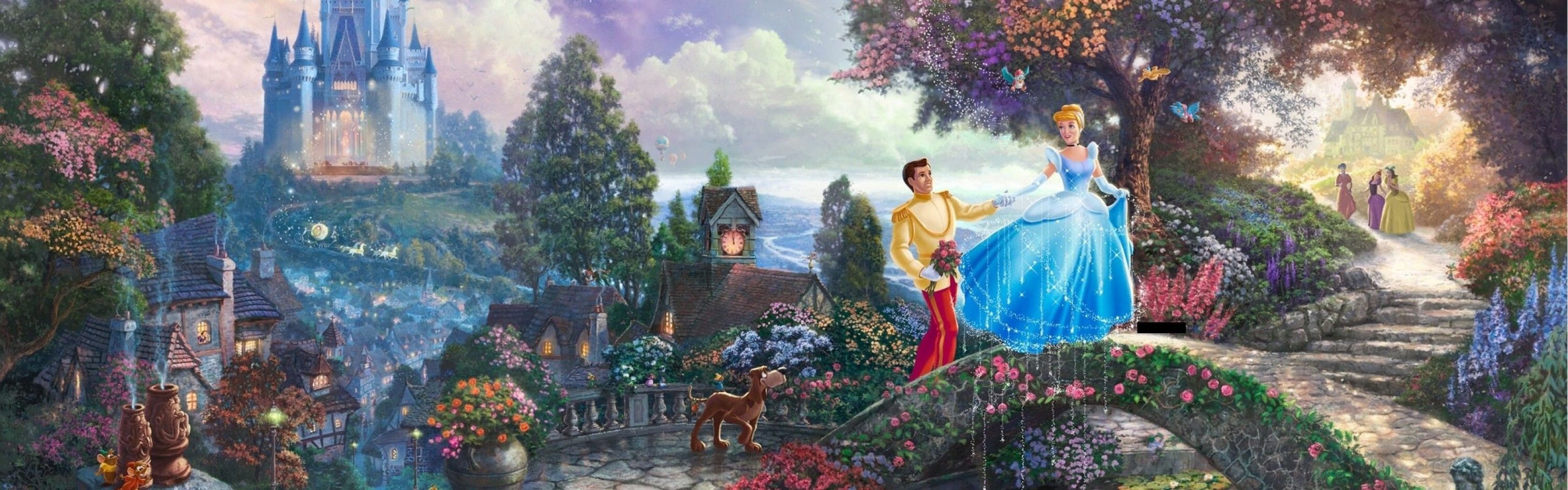 Thomas Kinkade Disney Wallpapers 3360x1050