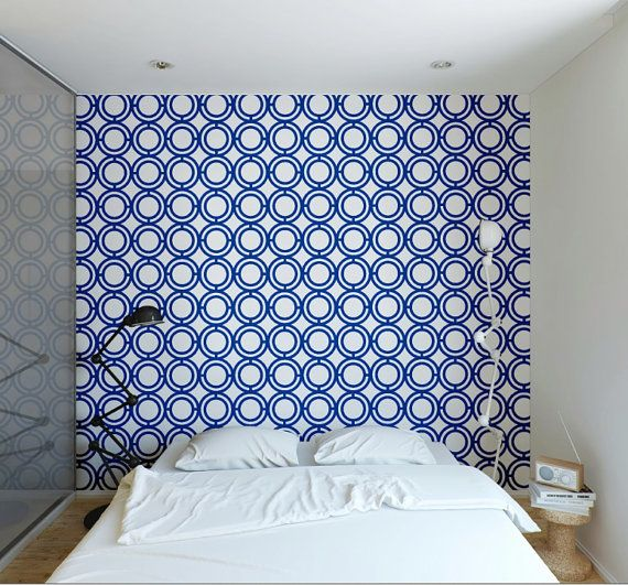 Self adhesive vinyl temporary removable wallpaper wall decal   Blue 570x531