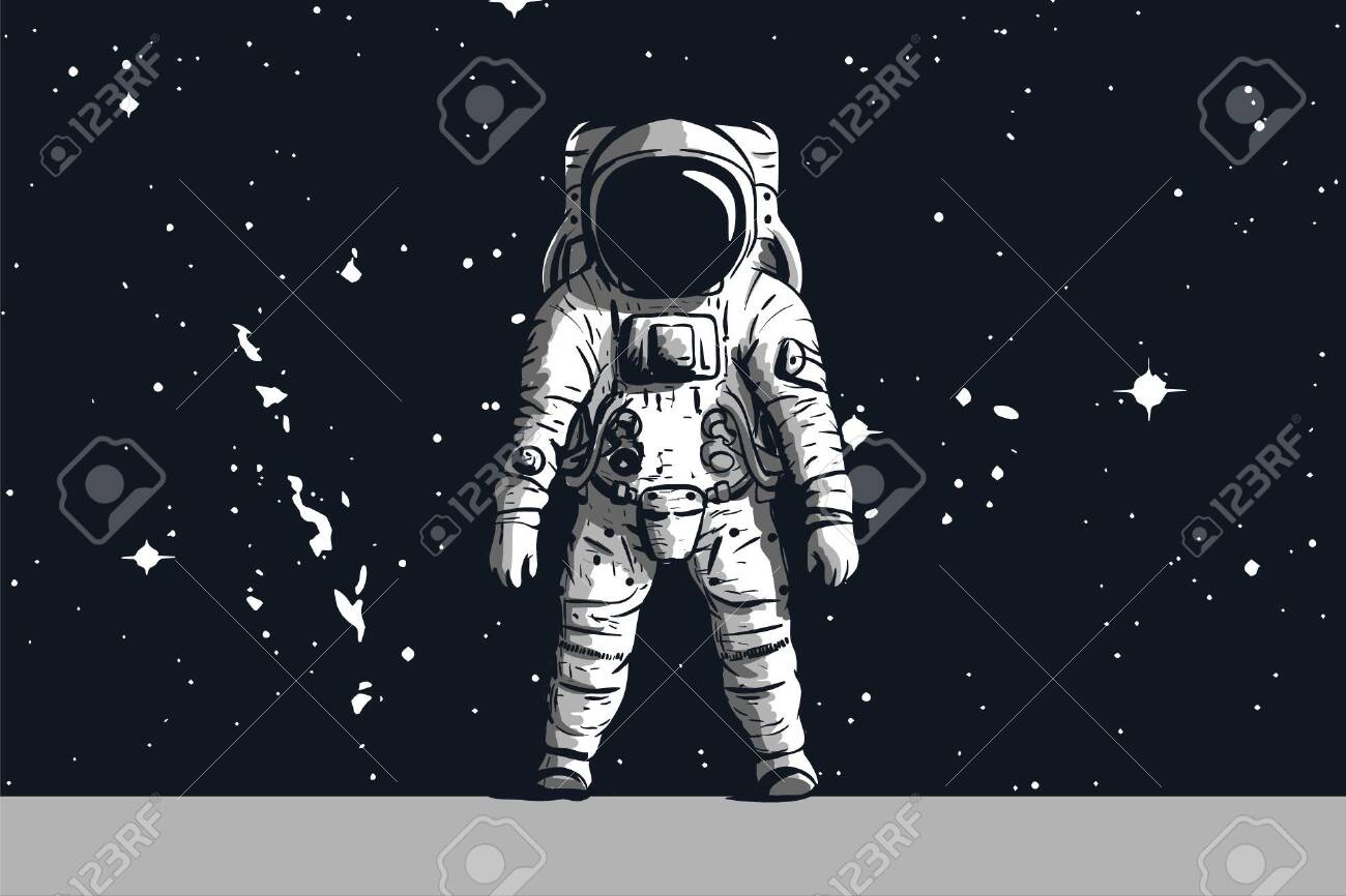 Astronaut On Rock Surface With Space Background Vector Image 1300x866
