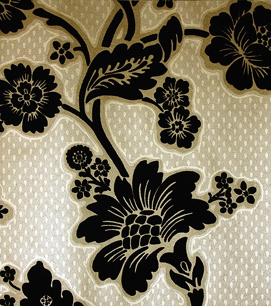 Soho Square Flock Wallpaper A Black Floral Design Printed On