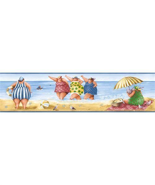 bath sunworthy fat ladies on the beach blue wallpaper border kb206615b 500x596