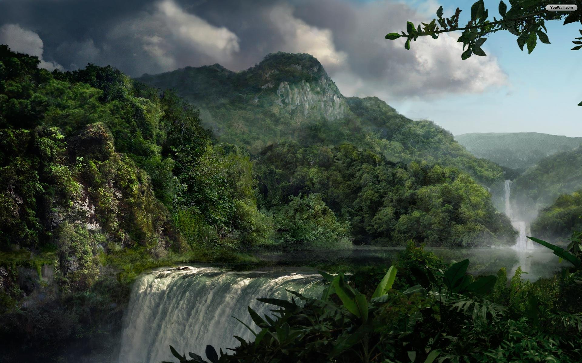 Jungle Waterfalls Wallpaper   wallpaperwallpapersfree wallpaper 1920x1200
